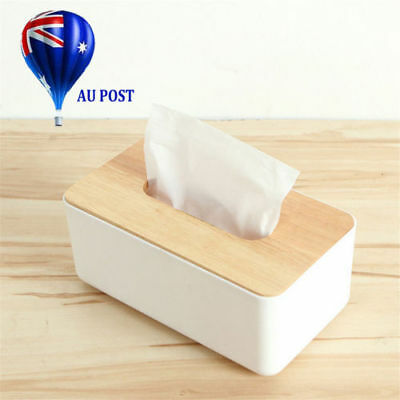 Plastic Home Room Car Hotel Tissue Box Wooden Cover Paper Napkin Holder Case JO