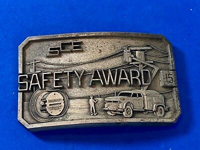 Vintage SCE Southern CA Edison Power Safety Award  Belt Buckle by  Ostens