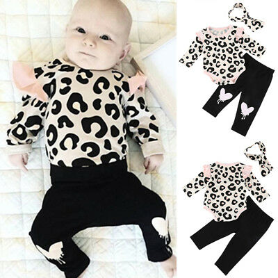 2018 Newborn Baby Girls Leopard Print Romper Jumpsuit Bodysuit+Pants Outfits Set