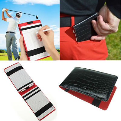 PU leather Black golf score card yard book cover golf scorecard holder #WE9