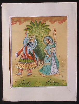 Indian Vintage Lord Of Radha Krishna Dancing Water Color Hand Painting