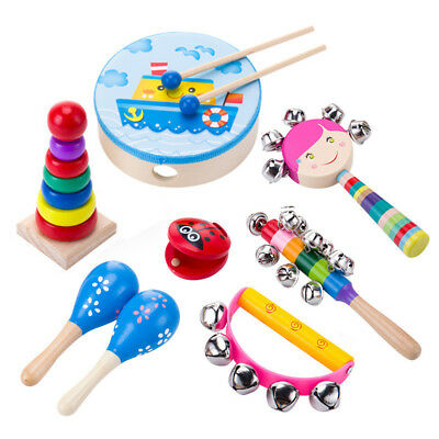 Wooden Kids Music Instruments Kit Children Toddlers Toys Percussion Set