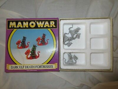 Fantasy Man o'War Dark Elf Death Fortress X 3 Boxed Rare OOP