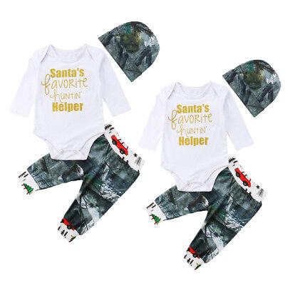AU Stock Newborn Baby Boys Girls Tops Romper Pants Hat Outfits Set Clothes 0-24M