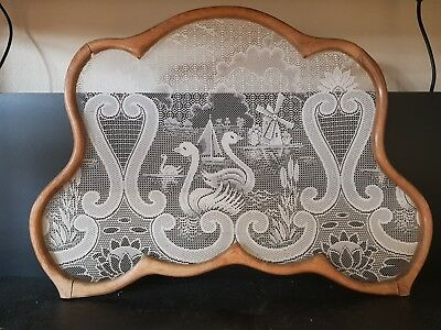 Vintage Antique DUTCH handcrafted Wood And Lace Window Screen