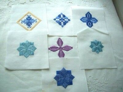 Needlepoint - 7 x Finished squares, ideal for card making         ref 4D