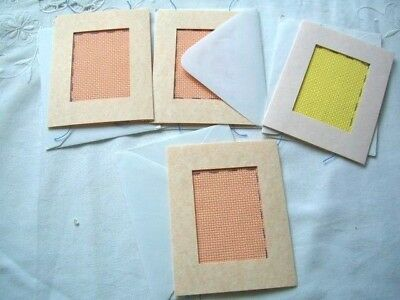 Needlepoint - 4 x pieces of mixed Aida, ideal for card making         ref 7E
