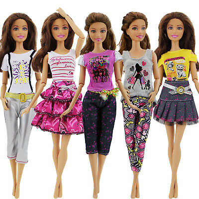 5 Set Fashion Outfit T-shirt Skirt Dress Pant Lovely Clothes For Barbie Doll B