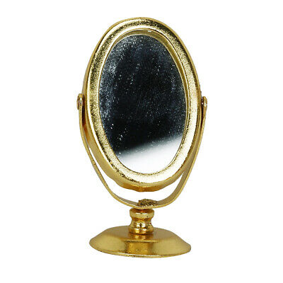 Miniature Metal Dressing Table Mirror Model For 1/12 Dollhouse Decor Golden