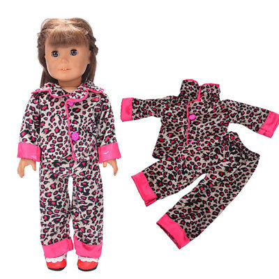 Rosy Leopard Pajamas Nightgown Sleepwear Clothes For 18 inch American Girl Doll