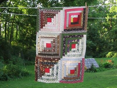 ~ Piece #2 of Beautiful Old Log Cabin Quilt Top ~