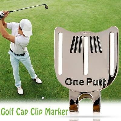 AU One Putt Golf Alignment Aiming Tool Ball Marker Magnetic Visor Hat Clip Alloy