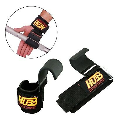 Weight Lifting Hooks Chin Up Gym Power Bar Gripper Fitness Support Wrist Straps