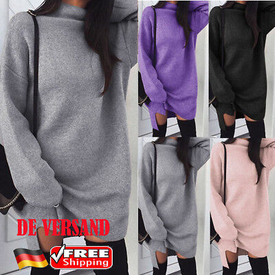 Damen Rollkragen Spliss Lang Pullover Pulli Sweatshirt Winter Casual Strickkleid