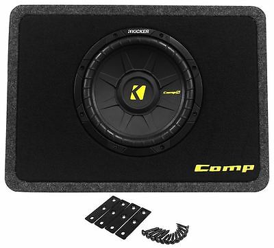 "Kicker 40TCWS104 CompS 10"" 4 Ohm Car Subwoofer in Shallow Sub Enclosure TCompS10"