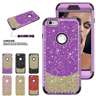 For iPhone XS Max/XR 8 7 Plus Hybrid Bling Glitter Sparkle Protective Case Cover