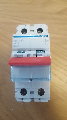 HAGER SBR 290 100A 100 AMP DP Main Switch Disconnector Isolator x10