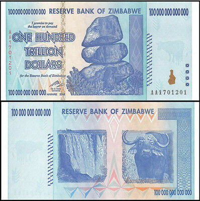 Zimbabwe 100 Trillion Dollars 2008 AA P.91, Guaranteed authentic Unc