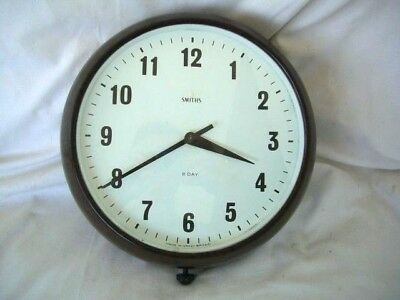 "Smiths Round 8"" Dial Bakelite(Look) 8 Day Wall Clock-  Wind-Up"