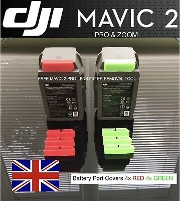 dji Mavic 2 Pro & dji Mavic 2 Zoom Battery Port Covers 4X Green 4x Red
