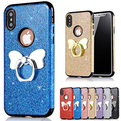 Bling Glitter TPU Soft Gel 360 Ring Stand for Galaxy S9+/S8/Note 8 S7 Case Cover