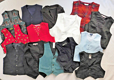 14 childrens waistcoats job lot IMPERFECT school play stage costume boys girls A