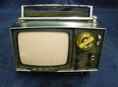 Vintage Sony Micro Tv Television Mod Space Age Black & White W/ Case For Repair