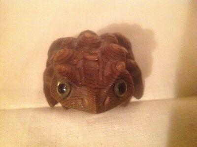 Vintage collectible hand carved wood horny toad figure glass eyes Japan Cryptome