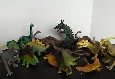 """Large lot of 14 hard plastic Assorted toys Dinosaurs & dragons. From 8"""" down"""