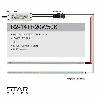 20w 2'x4' 5000K Magnetic LED Fluorescent T8 T12 Troffer Retrofit Kit DLC Rebate!