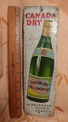 Vintage 1920's Canada Dry Ginger Ale Soda Metal Door Push Advertising Sign-RARE!
