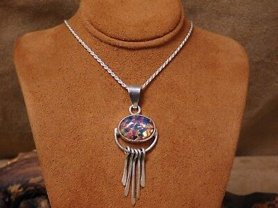 Vintage Sterling Silver Multi- Colored Glass Necklace