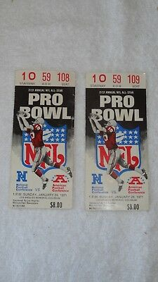 January 24, 1971 21st Annual NFL Pro Bowl - TWO Ticket Stubs