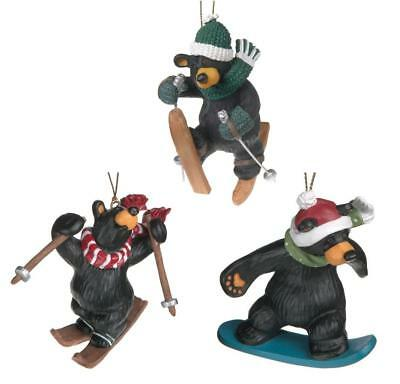 Big Sky Carvers Bearfoots Black Bear Christmas Ornaments Set, Skiing & Snowboard