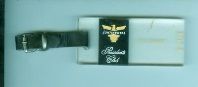 1950's Continental Airlines President's Club hard plastic luggage tag