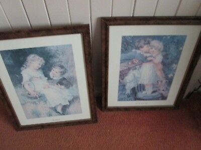 ANTIQUE LOOK FRAMED PRINTS x 2.VGC.in TIMBER LOOK SLIM FRAME. VGC.GLASS. NICE