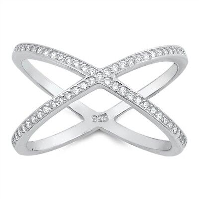 Cubic Zirconia Crisscross .925 Sterling Silver Ring Sizes 5-10