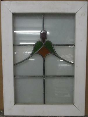 "OLD ENGLISH LEADED STAINED GLASS WINDOW Simple Abstract Floral 18"" x 24.75"""