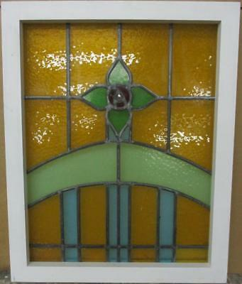 "OLD ENGLISH LEADED STAINED GLASS WINDOW Stunning Floral Design 19.5"" x 24.25"""