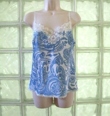 Victoria's Secret Silky Satin & Lace Cami Lingerie Blue Ivory Paisley Size Small
