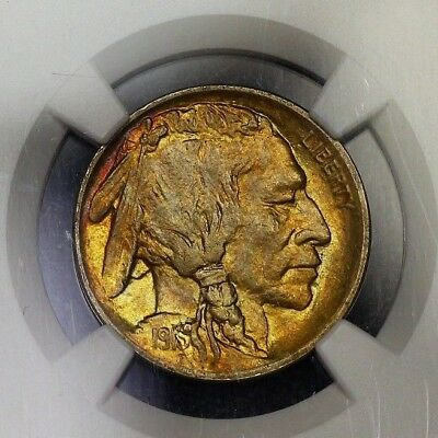 NGC MS63 1913 TY1 Buffalo Nickel 5c Great Toning and Color Type 1 Ty 1 PQ MS 63
