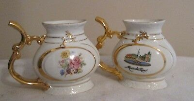 3 Vintage Floral Antique Fine Porcelain  Mug Cups, Made in Czechoslovakia