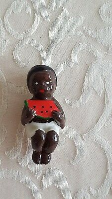 "Vintage BLACK AMERICANA Little Boy Eating Watermelon 2.25"" Magnet TAIWAN"
