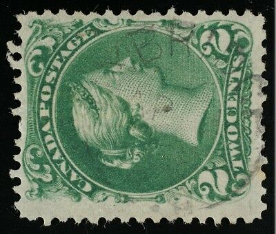 Large Queen 2cent Green 24b,Thin paper type, UXBRIDGE April 1 1868 cds FIRST DAY