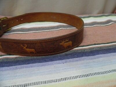 Men's Vintage Chambers Tooled Leather Elk Big Horn Mountains Western Belts 30-33