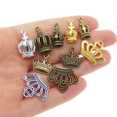 10pcs Lot Mixed Color Alloy Metal King Crown Charms For Necklace Pendants Crafts