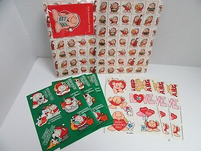 Mixed Lot Ziggy Christmas Wrapping Paper Holiday & 6 Stickers Sheets Valentines