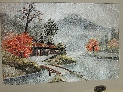 Japanese Silk Mt Fuji Landscape Art Hand Embroidery Iritanl Subura Co Tapestry