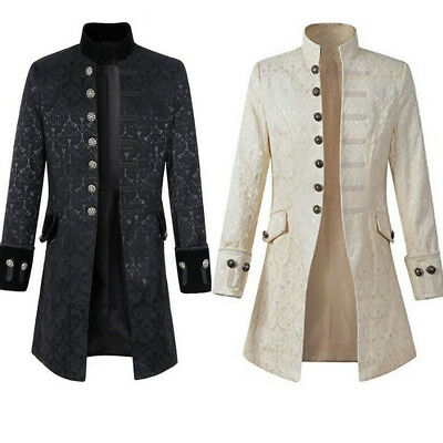 Steampunk Coat Jacket Vacation Festival Vintage Mens Gothic Frock Morning Coat