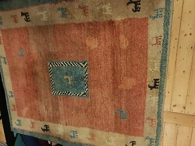 Stunning Cadry's vintage Persian soft orange/beige/green handwoven wool rug